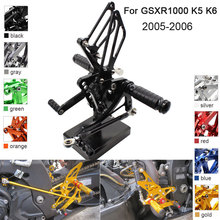 цены CNC Aluminum Adjustable Rearsets Foot Pegs For Suzuki GSXR1000 GSXR 1000  K5 K6 2005 2006