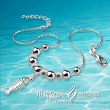 Ноги браслет сплошной подлинная 925 чистое серебро бусины рыба ножной браслет для девочки и дамы