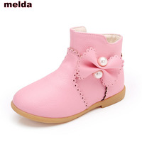 Fashion New Children Winter Boots Girls Ankle Boots Butterfly Snow Boots Princess Flower Solid Kids Shoes