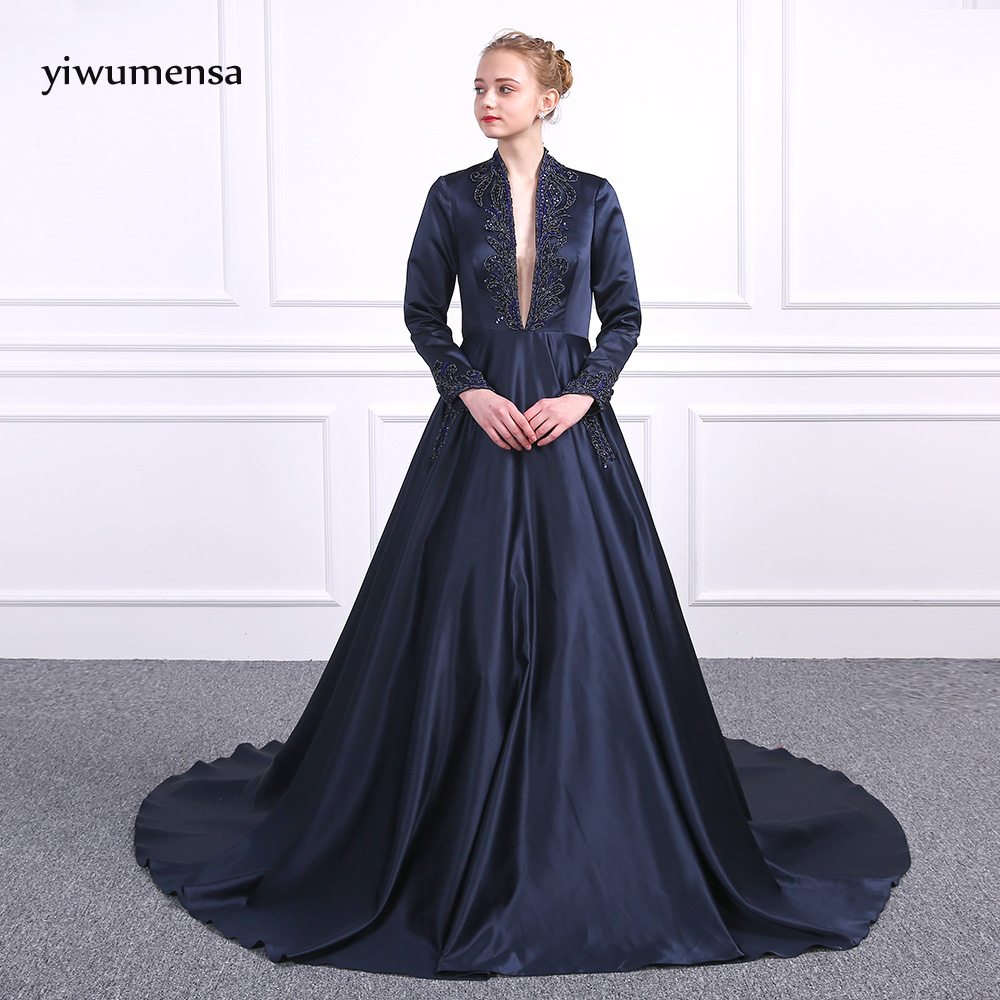 yiwumensa Design Long Sleeves Soft Satin Long   Prom     dresses   2018 A-Line Floor Length Party Gowns New Styles Beading   Prom     dress