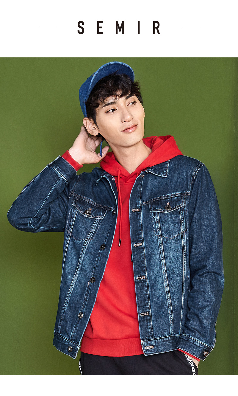 SEMIR denim Jackets men coat dark Blue Casual Teens Denim Jacket cotton Turn-down Collar Long Sleeve Denim Bomber jackets 5