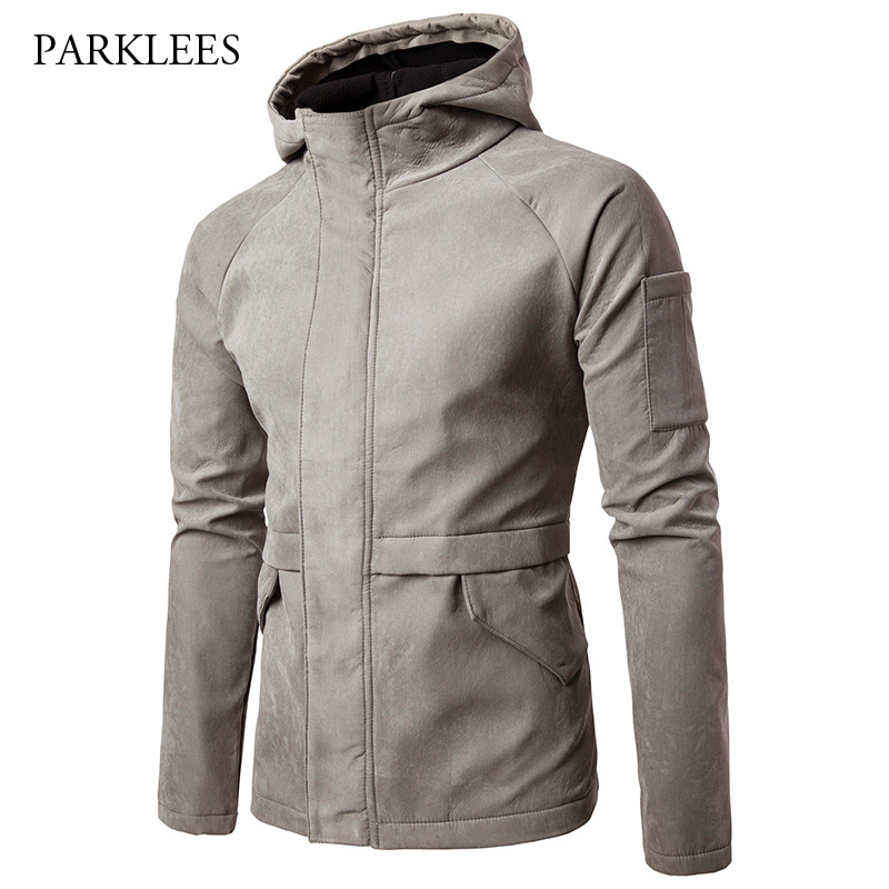 Brand Hooded Jacket Men 2017 Fashion Covered Zipper Pocket