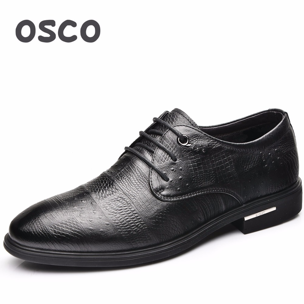 OSCO Spring Breathable Men Shoes Black Formal Shoes Casual Business Dress Shoes Men Pointed Toe Luxury Shoes Male Lace-Up Oxford huracche 2016 brand men casual shoes lace up breathable black dress shoes for men big size chelsea light up oxford