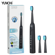Yunchi 2018 New Sonic Electric Toothbrush Replaceable Brush Heads Nozzle USB Rechargeable Effective Clean White