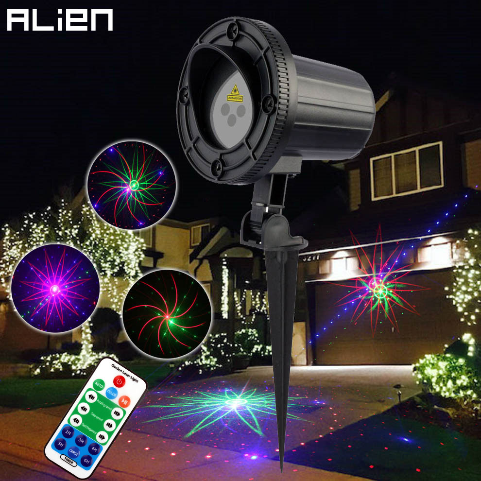 цены на ALIEN RGB Outdoor Garden Decoration Waterproof Laser Light 8 Big Patterns Christmas Tree Lights Holiday Lighting With RF Remote в интернет-магазинах