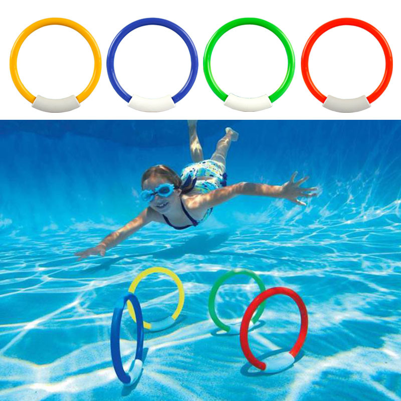 4pcs/ set Fun Swimming Toys Outdoor Beach Pool Water Toys Dive Rings Toys For Children B ...