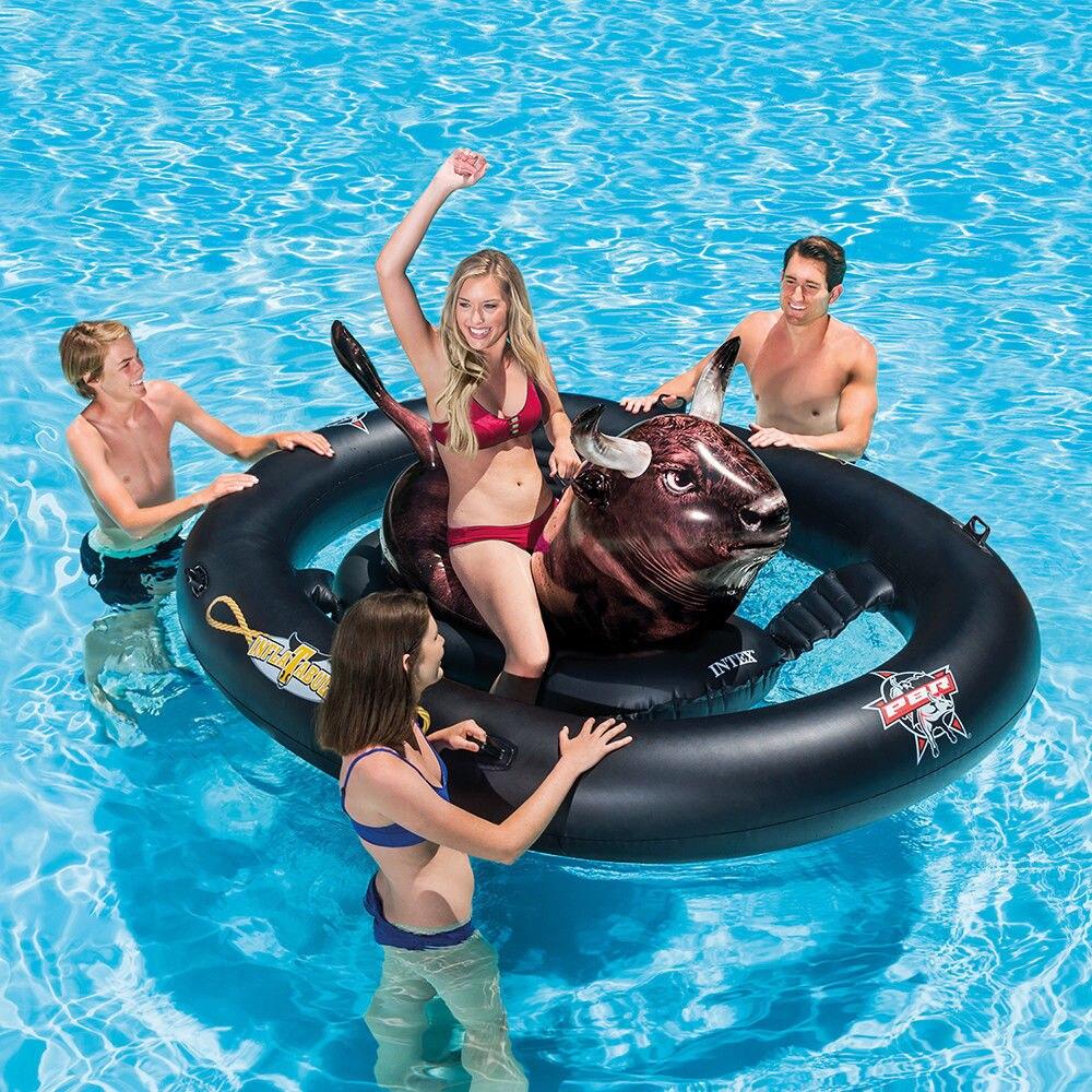 Piscine autoportée flotteur salon Intex gonflable Cowboy Rodeo taureau lac natation drôle 56280