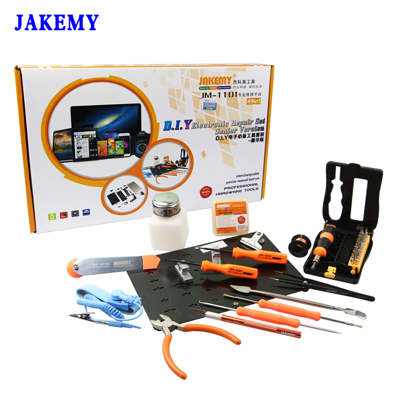 JAKEMY 49 in 1 DIY Electronic Repair Tools Set Screwdriver Pliers Platform Board Hand Tools For Mobile Phone Tablet Computer 3pcs set ferramentas smartphone tools metal spudger mobile phone laptop tablet repairing opening tools
