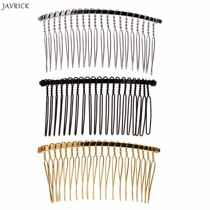 JAVRICK bricolage blanc pinces à cheveux en métal voile de mariage côté peigne 20 dents accessoires de cheveux de mariée