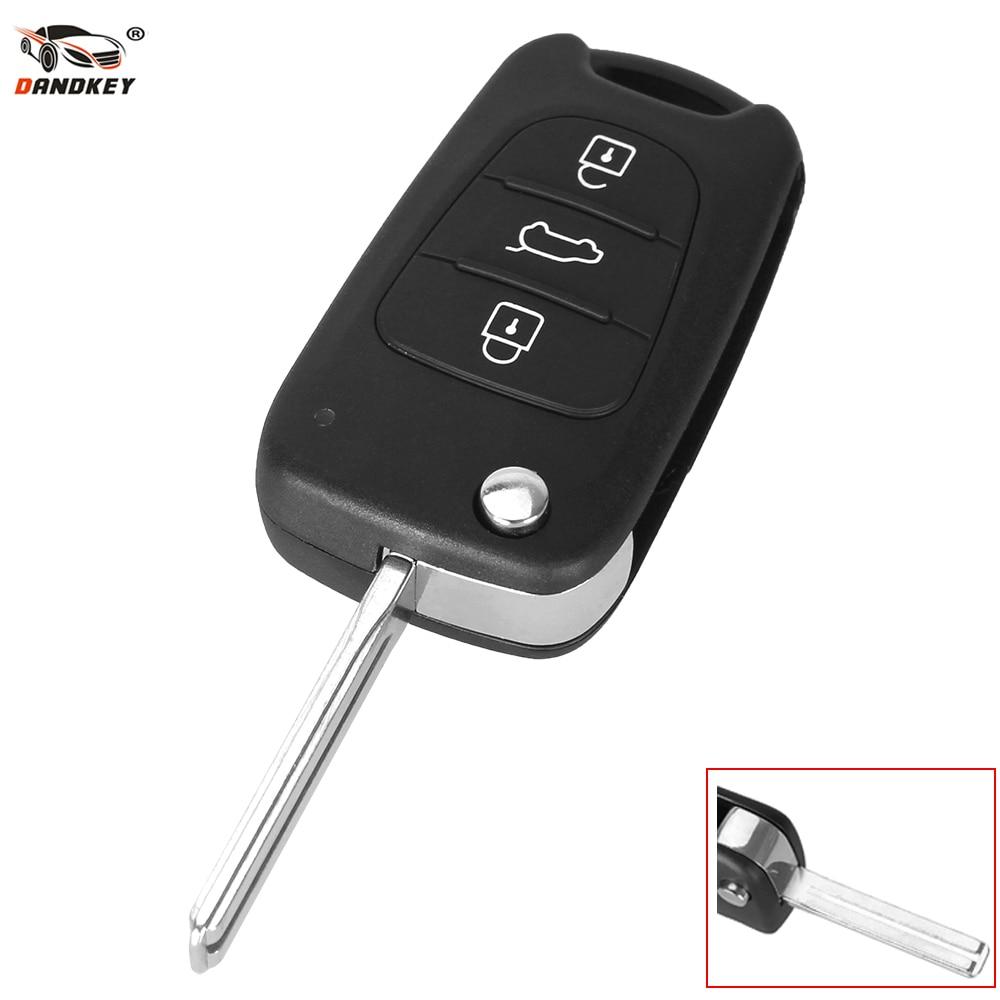 Dandkey Car Key Shell Replacement Flip Folding Remote Key Case Blank