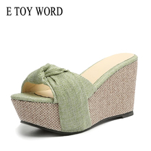 E TOY WORD 2019 Summer Wedge slipper Women shoes Rome Style flower slippers high-heeled Platform beach sandals
