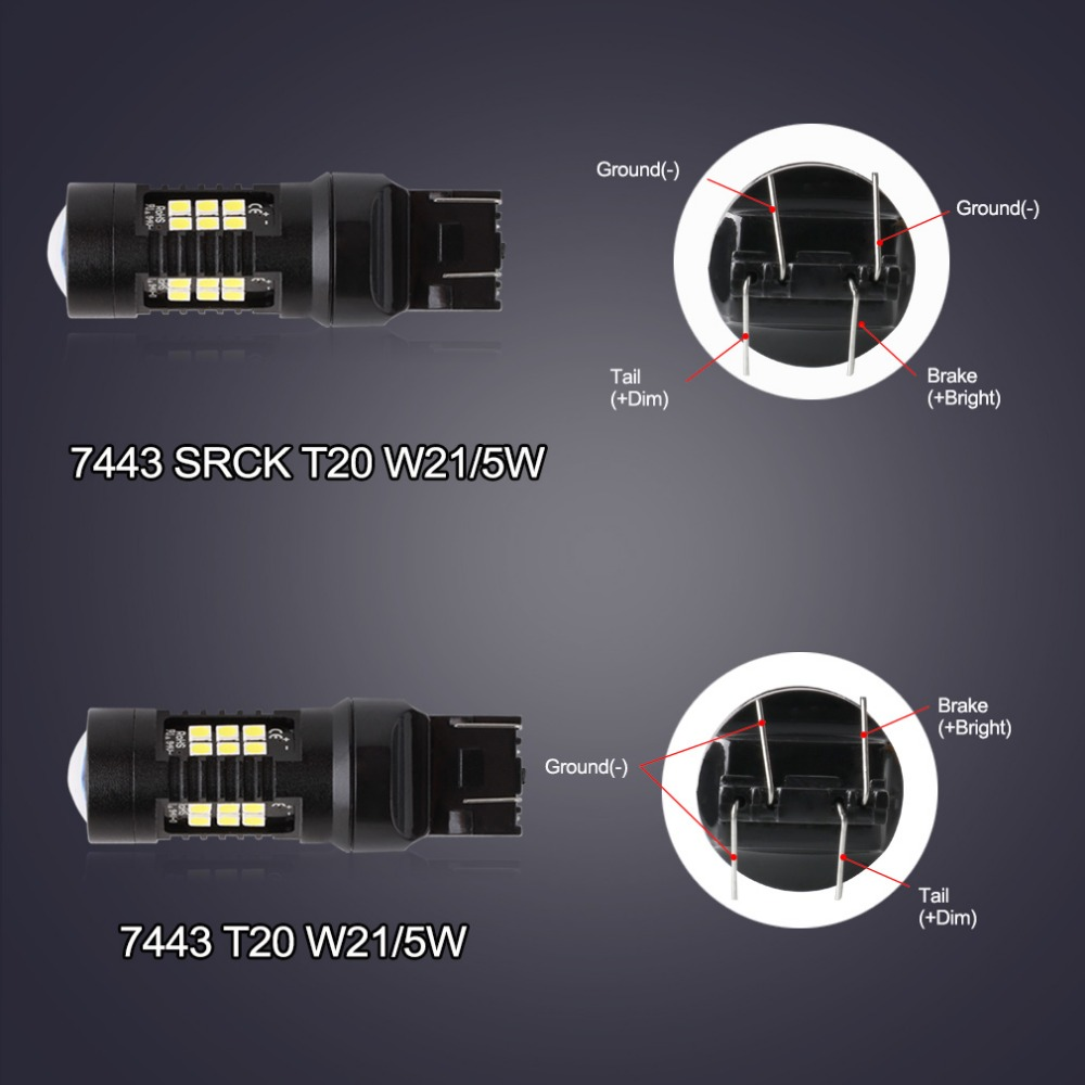 T20 Led 7443 SRCK Bulb W21/5W Led 21 3030SMD Auto Lights Bulbs Reverse Backup DRL Car Turn Signal Light White Yellow Amber Red 1pcs t20 w21 5w 7443 32smd 4014 car led brake light auto warning bulb fog lamp dc12v car styling side turn signal 6000k white