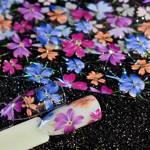 Image 4 - Nail Art Flower Decal Foil Image Transfer Spirit Wild flower Sticker Foil Easy DIY Manicure Decoration Roll in clear jar 1m