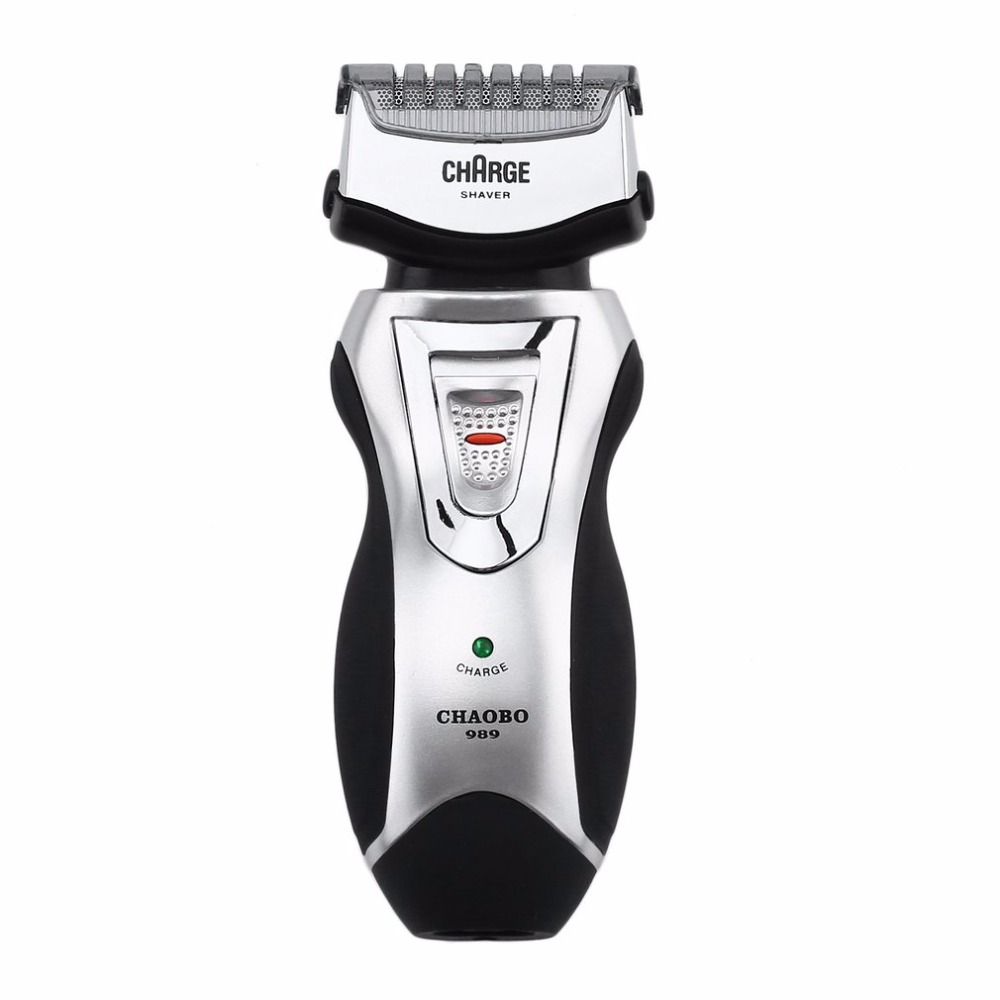 Men's Rechargeable Electric Shaver Double Blades Razor Groomer With Precision Stainless Steel Mesh Blades US Plug Beard Trimmer stainless steel electric rechargeable shaver razor silver golden