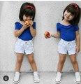 2016 новое прибытие девочка Модальный коротким рукавом Футболки оборками стиль дети летний топ майка 1-4Y мода прекрасный бесплатный доставка
