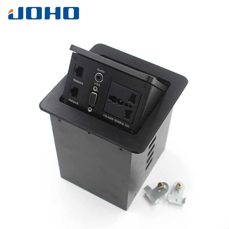 цена на JOHO 10A Power Desktop Socket Electrical Outlet Data VGA HDMI Audio Port Aluminum Black Silver Panel Table Socket P-130
