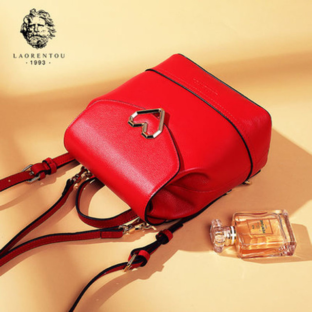 8abc44ec3dd94 Schule Tasche Frauen Schwarz Laorentou Weibliche Mode Leder Rucksack  A4c35LqRj