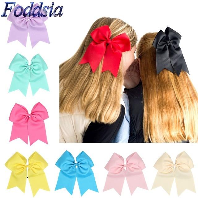 Foddsia 20PCS LOT 8 Inch Large Cheerleading Hair Bow Grosgrain Ribbon Cheer Elastic Band