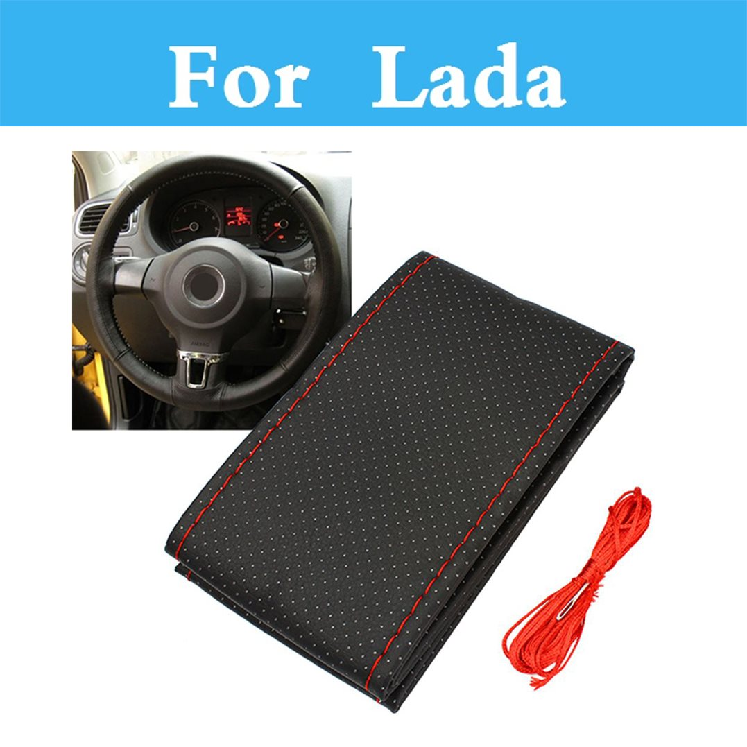 Diy Car Steering Wheel Cover Leather With Needles Thread For Lada 1111 Oka 2105 2106 2107 2109 2110 2112 <font><b>2113</b></font> 2114 2115 image