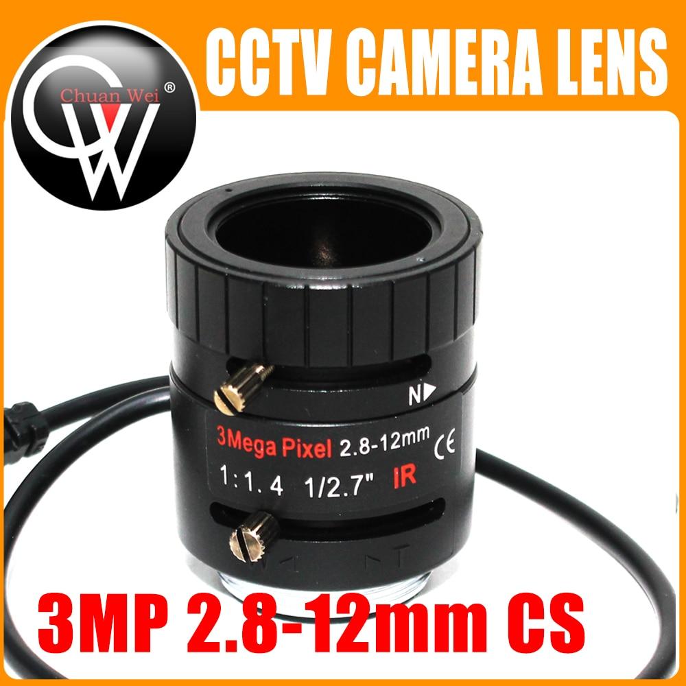 3MP 2.8-12mm lens HD 3.0megapixel Auto Iris varifocal IR metal CS CCTV lens,F1.4, for Security cctv camera 1 3mp 1 3 6 60mm f1 6 cs mount dc auto iris varifocal ir cctv lens for box body camera