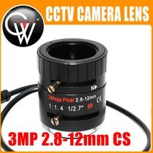 3MP 2.8-12mm lens HD 3.0megapixel Auto Iris varifocal IR metal CS CCTV lens,F1.4, for Security cctv camera