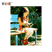 RIHE Girl With Cat Oil Painting By Numbers Chair Cuadros Decoracion Park Acrylic Paint On Canvas For Artwork Modern Home Decor