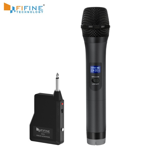 FIFINE UHF Wireless Handheld Dynamic Microphone& Receiver for Outdoor party Wedding Bar Live Show School conference Karaoke K025