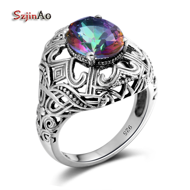 Szjinao Rainbow Mystic Topaz Rings For Women 925 Sterling Silver Wedding Jewelry Vintage Style Witcher Bijoux