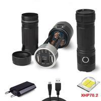 most powerful flashlight xhp70 usb flashlight 18650 powerbank outdoor military spotlight hunting flashlight torch led zaklamp