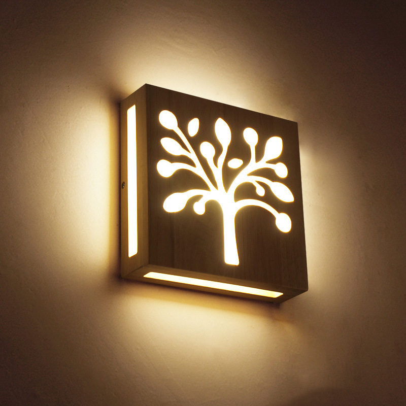 Modern Japanese/Nordic Wood Led Wall Lights Fixtures 3D Three-dimensional Effect Bedside Wall Lamp Aisle Living room Wall Sconce
