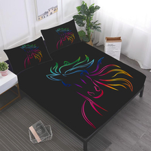 Simple Sparkling Horse Sheet Set Colorful Animal Design Bed Flat Deep Pocket Fitted Pillowcase Bedding D20