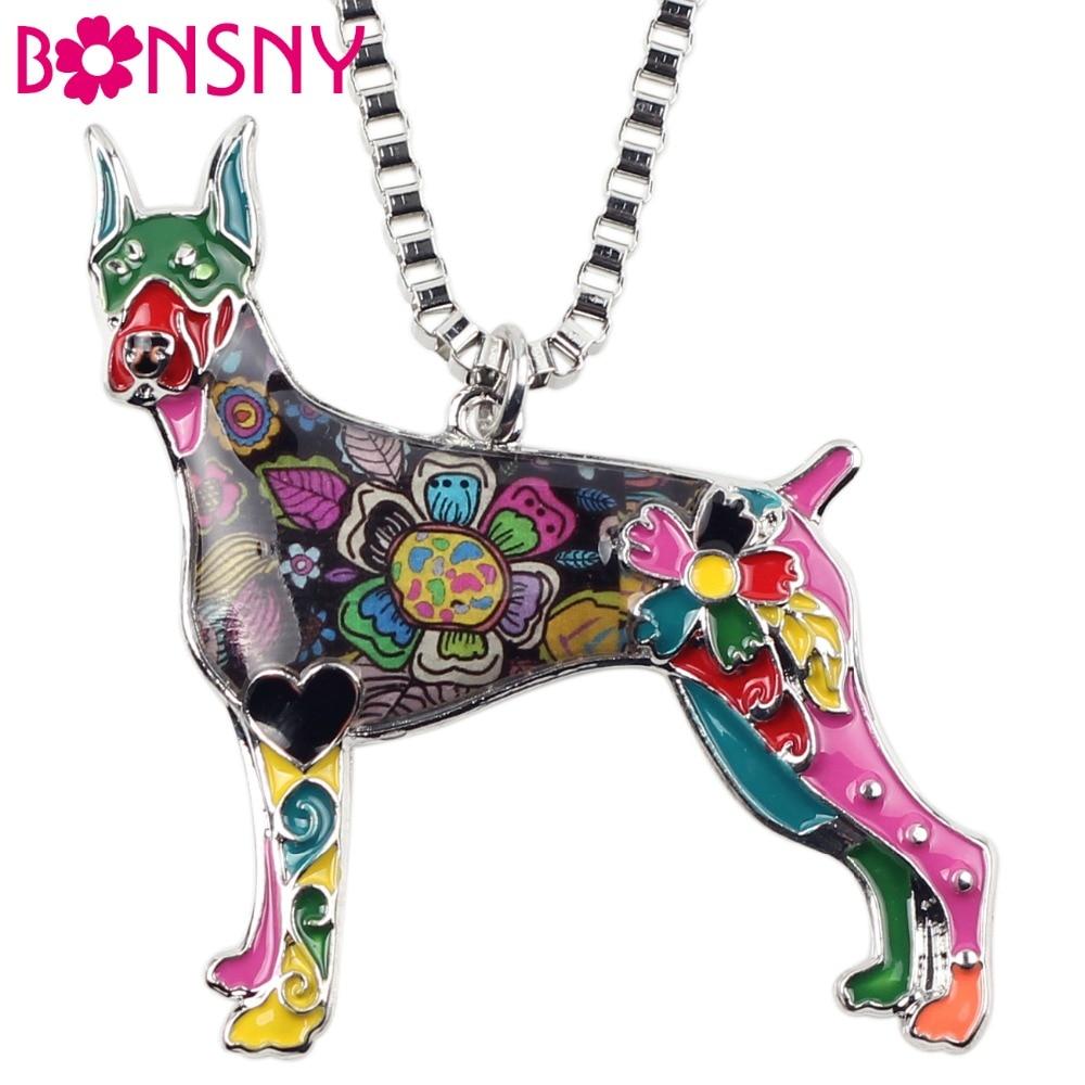 Bonsny Maxi Statement Metal Alloy Doberman Dog Choker Necklas