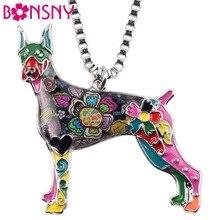 Bonsny Maxi Statement Metal Alloy Doberman Dog Choker Necklace Chain Collar Pendant Fashion New Enamel Jewelry For Women