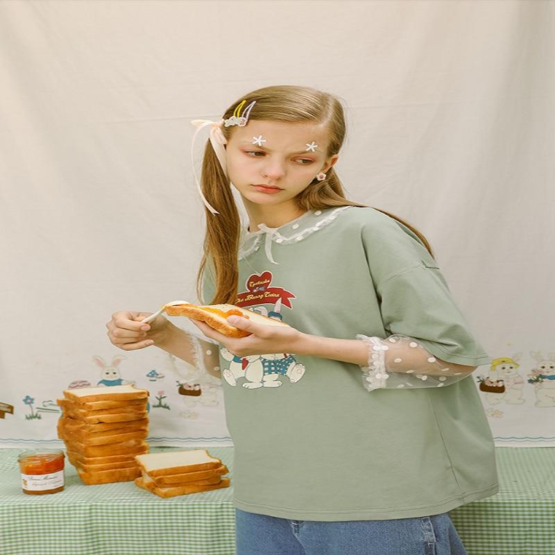 Mode Design femme 2018 T Shirt Harajuku Tee chemise haute hauts femmes été à manches courtes décontracté T-shirts lettres imprimer mignon lapin