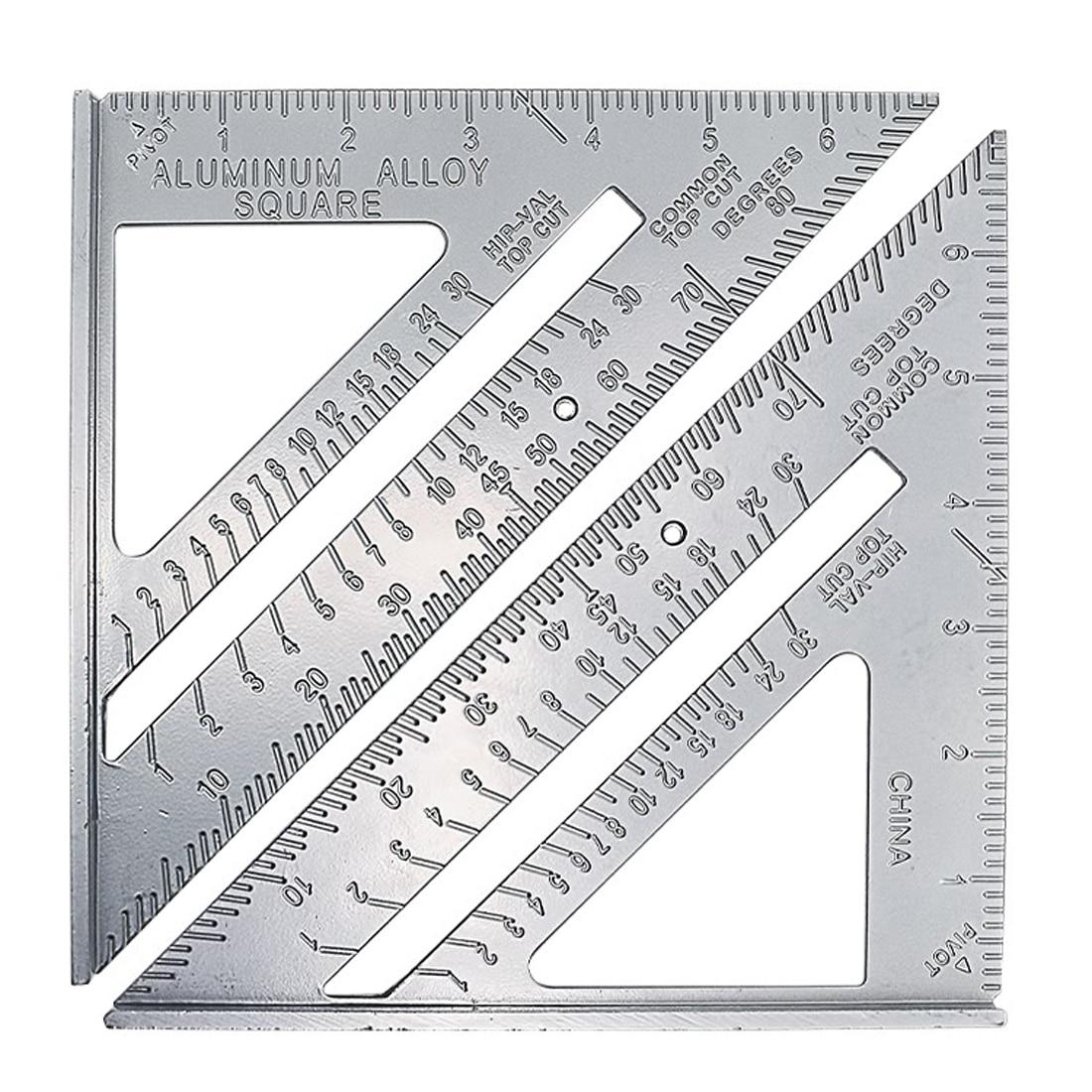 Hot Square Protractor Aluminum Alloy Miter Framing Tri-square Line Scriber Saw Guide Measurement Inch Carpenter Ruler Dropship aluminum alloy t general pervez musharraf held hole hole crossed feet carpenter scriber
