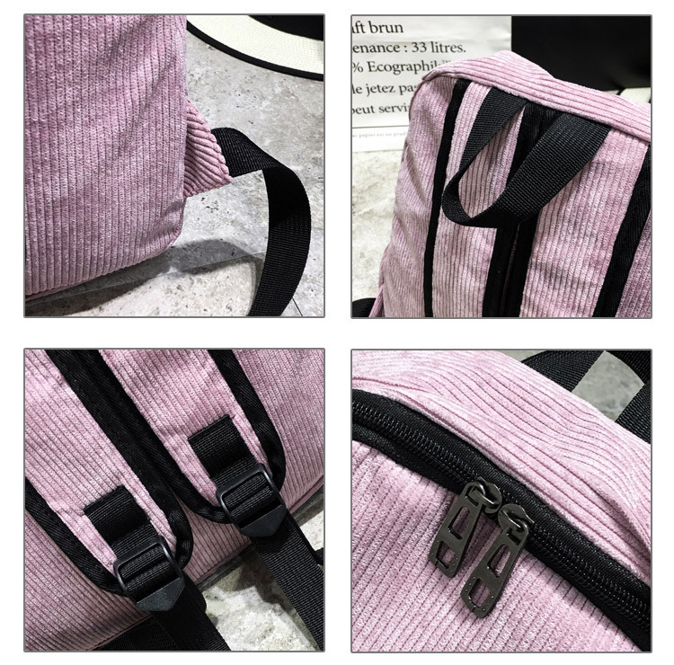 HTB1UbTQBOCYBuNkHFCcq6AHtVXaL Women Striped Corduroy Backpack Female Eco Simple Cloth Bag Large Capacity Vintage Travel Bags School Backpack for Teenage Girls