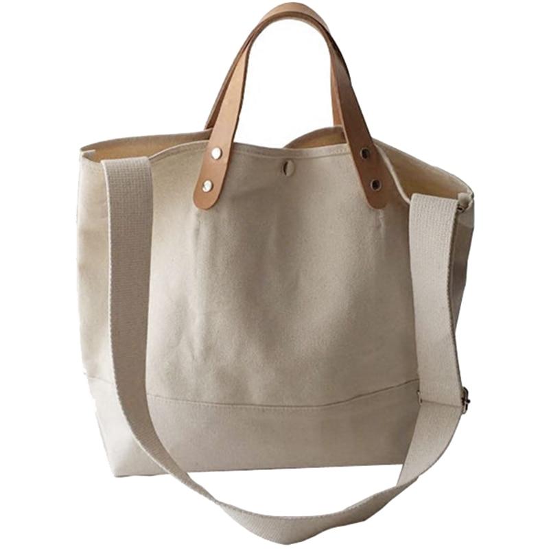 AUAU-New Simple Wild Big Bag Ins Canvas Large Capacity Handbag Casual Shoulder Slung Handbag