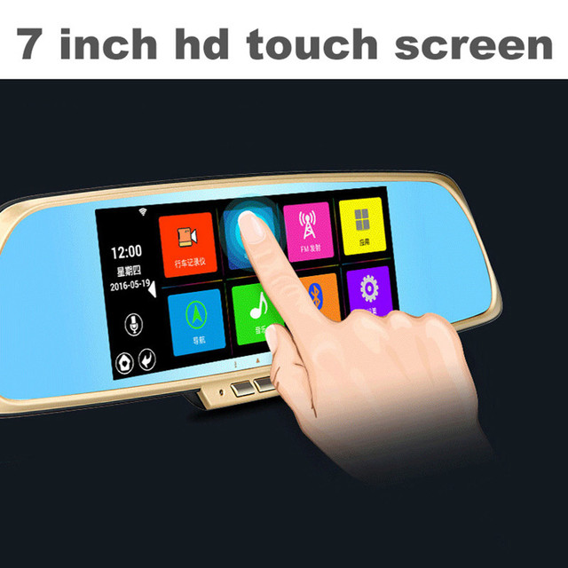7 inch HD Dual Lens Camera Video Tachograph Wifi  Bluetooth Voice control Car DVR GPS Android Rearview mirror Monitor navigation