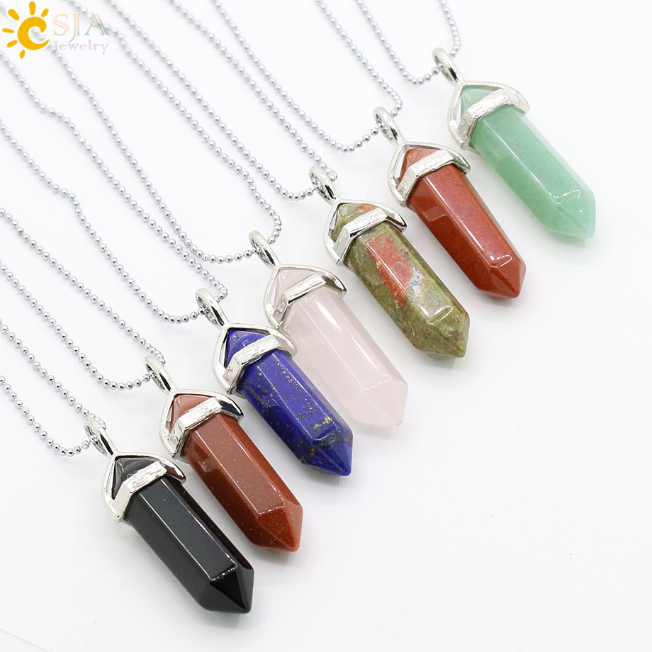 CSJA Real Raw Gem Pink Purple Crystal Hexagonal Bullet Reiki Point Chakra Natural Stone Pendant 2016 Necklace Women Jewelry E056 1
