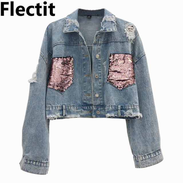 df4b56f1ea3 Flectit Vintage 80s Sparkled Sequin Crop Denim Jacket Women Frayed Long  Sleeve Contrast Pockets Jeans Jackets