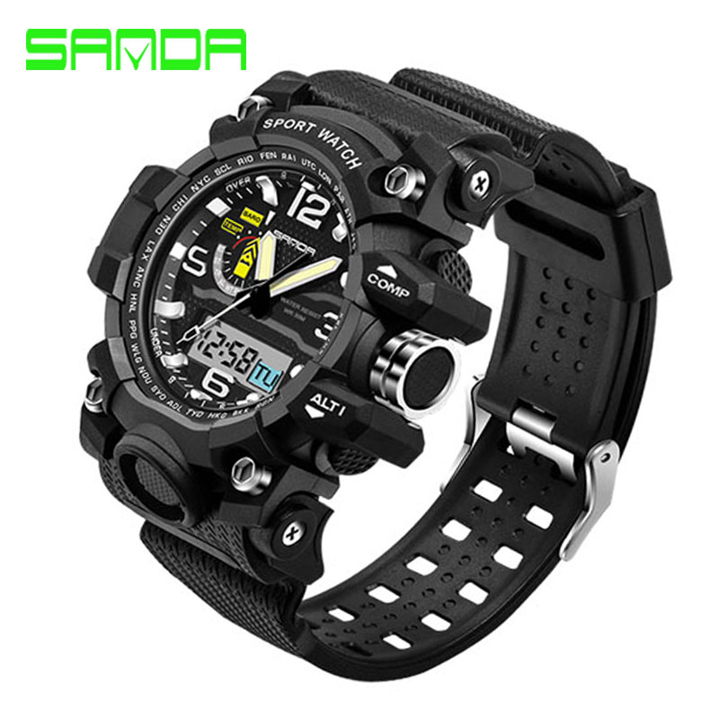 SANDA Large Dial Top Brand Luxury Men Sport Watches Fashion Digital Sport Wrist watches Relogio Masculino For Mens Quartz Watch mance luxury men s watches fashion brand dragon rome digital leather hollow dial quartz wrist watch relogio masculino time clock