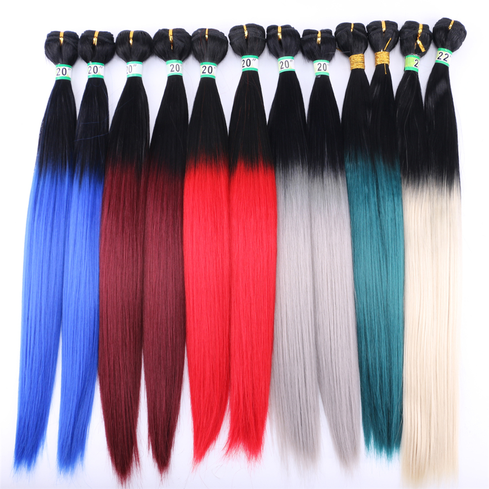 Angie 20-24 Inch 200gram/lot Silky Straight Hair Bundles 1/613# Ombre Color Synthetic Hair Extensions For Womens