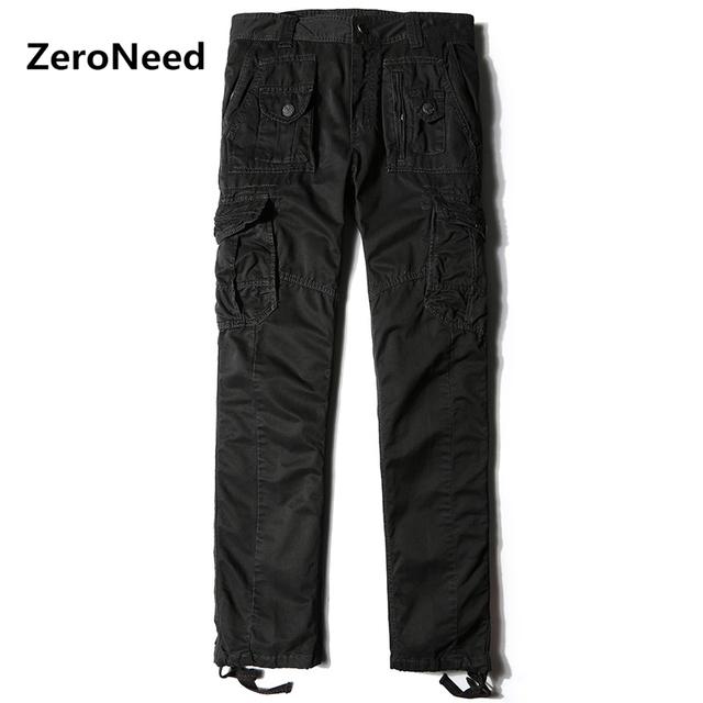 Clásico de Los Hombres de Carga Pantalones Multi Bolsillos Holgados Estilo Hommes Casual Basculador Hombres Trabajan Pantalones Hombres Pantalón de Algodón LongTrousers 97