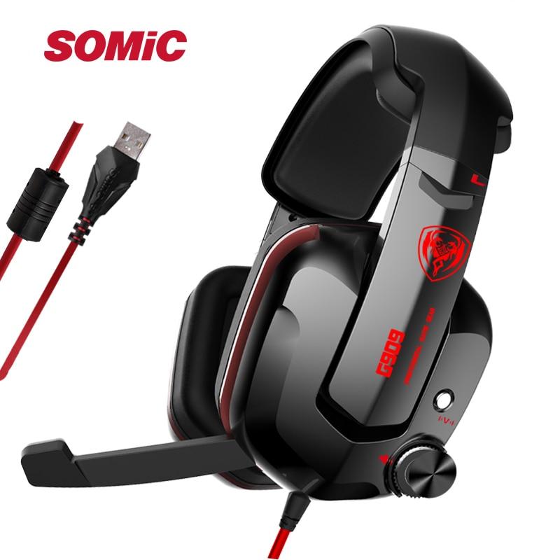 SOMIC G909 USB 7 1 Virtual Surround Sound Gaming Headset Noise Canceling Headphones Vibration Headphone for