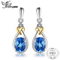JewelryPalace Aşk Düğüm 1.9ct Doğal Mavi Topaz 925 Gümüş 18 K Satışa Altın Dangle Küpe Güzel Takı