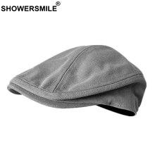 SHOWERSMILE Men Beret Hat 100% Cotton Grey Flat Caps Male Su
