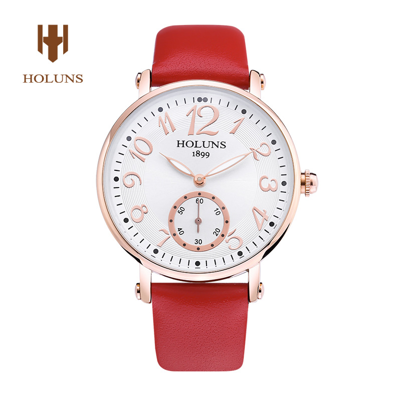 HOLUNS  Watch women Sapphire glass White Dial Quartz waterproof multicolor red leather strap watch нож oc3 fixed 6 072 sk5 black blade resin infused fiber handles glass reinforced nylon sheath