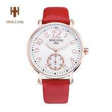 HOLUNS mujeres Del Reloj de cristal de Zafiro Esfera Blanca de Cuarzo multicolor impermeable reloj correa de cuero rojo