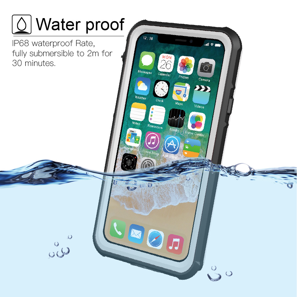 For iPhone X Waterproof case life water Shock Dirt Snow