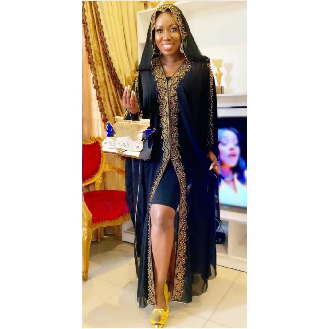 2019 Autumn Split Hooded Print Black Dress Women With Elastic Inner Wear Long Chiffon Dress Vintage Loose Plus Size Dress in Dresses from Women 39 s Clothing
